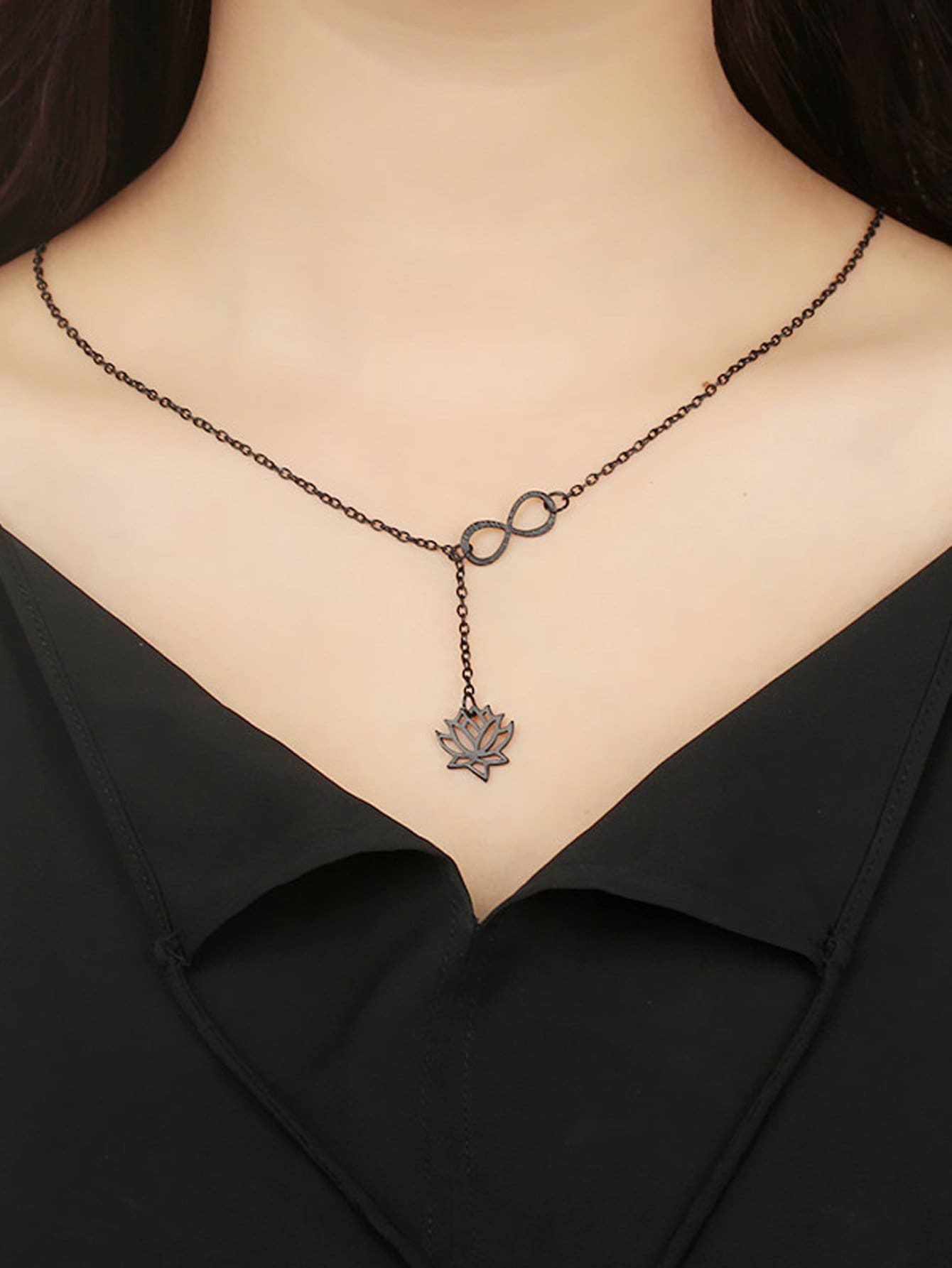 Infinity & Flower Detail Chain Necklace