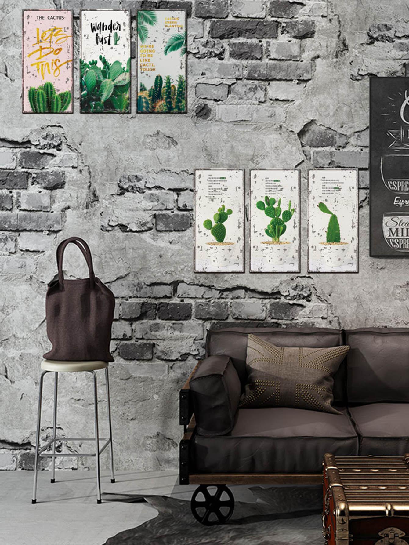 Cactus Pattern Wall Sticker 6pcs все цены