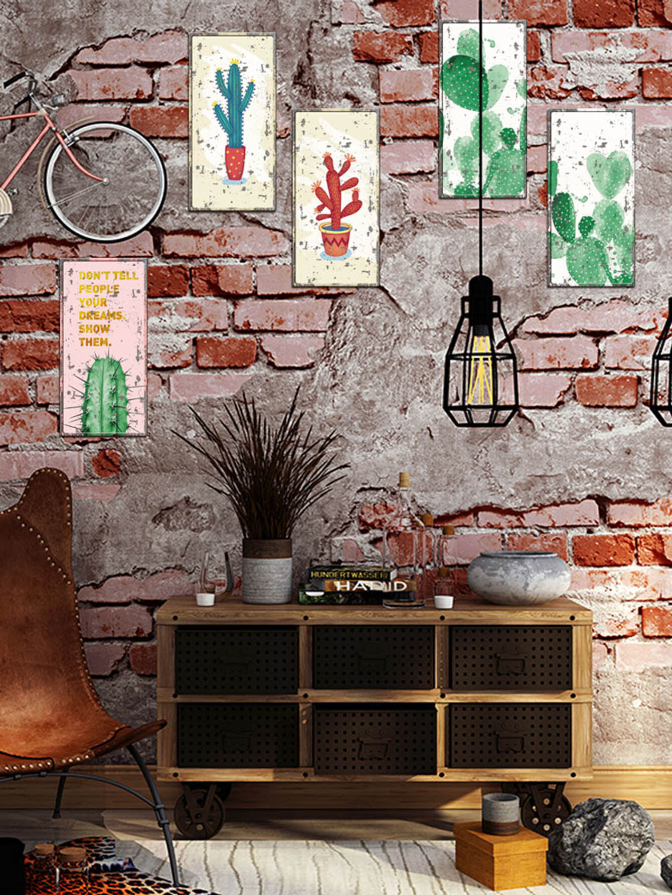 Купить Cactus Print Wall Sticker 6pcs, null, SheIn