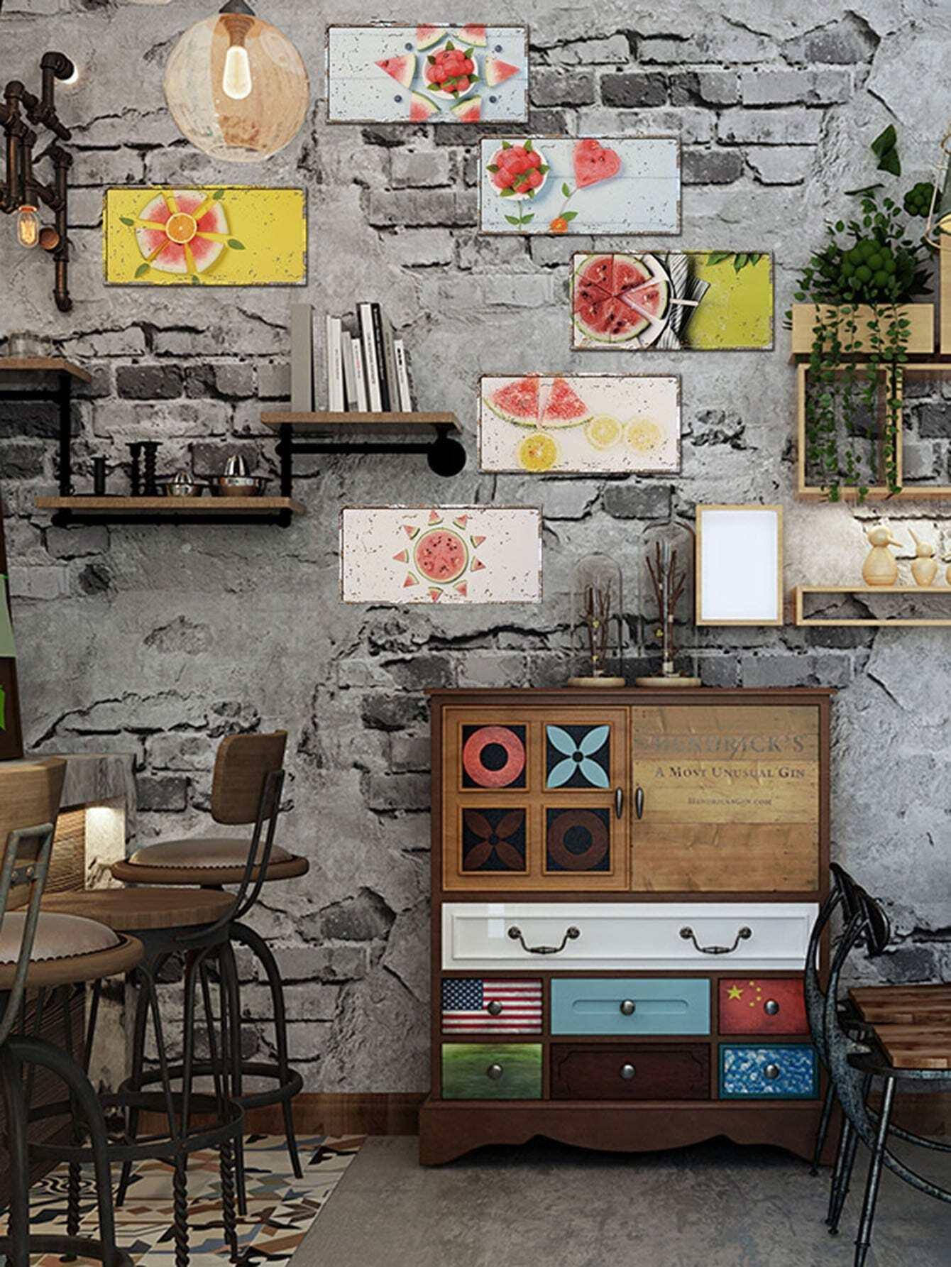 Watermelon Cut Wall Sticker 6pcs canvas stereoscopic decorative wall sticker 6pcs