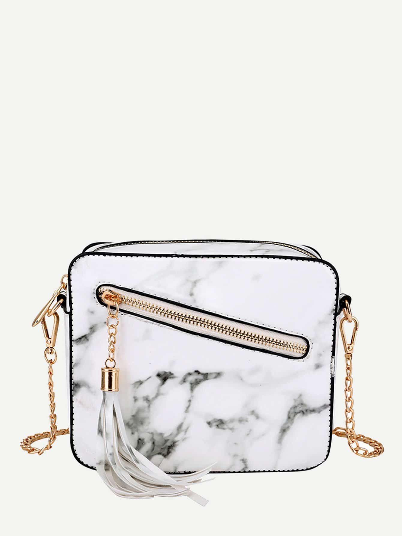 Tassel Zipper Front PU Chain Bag heart decor zipper front backpacks bag