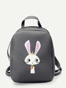Rabbit Pattern PU Backpack