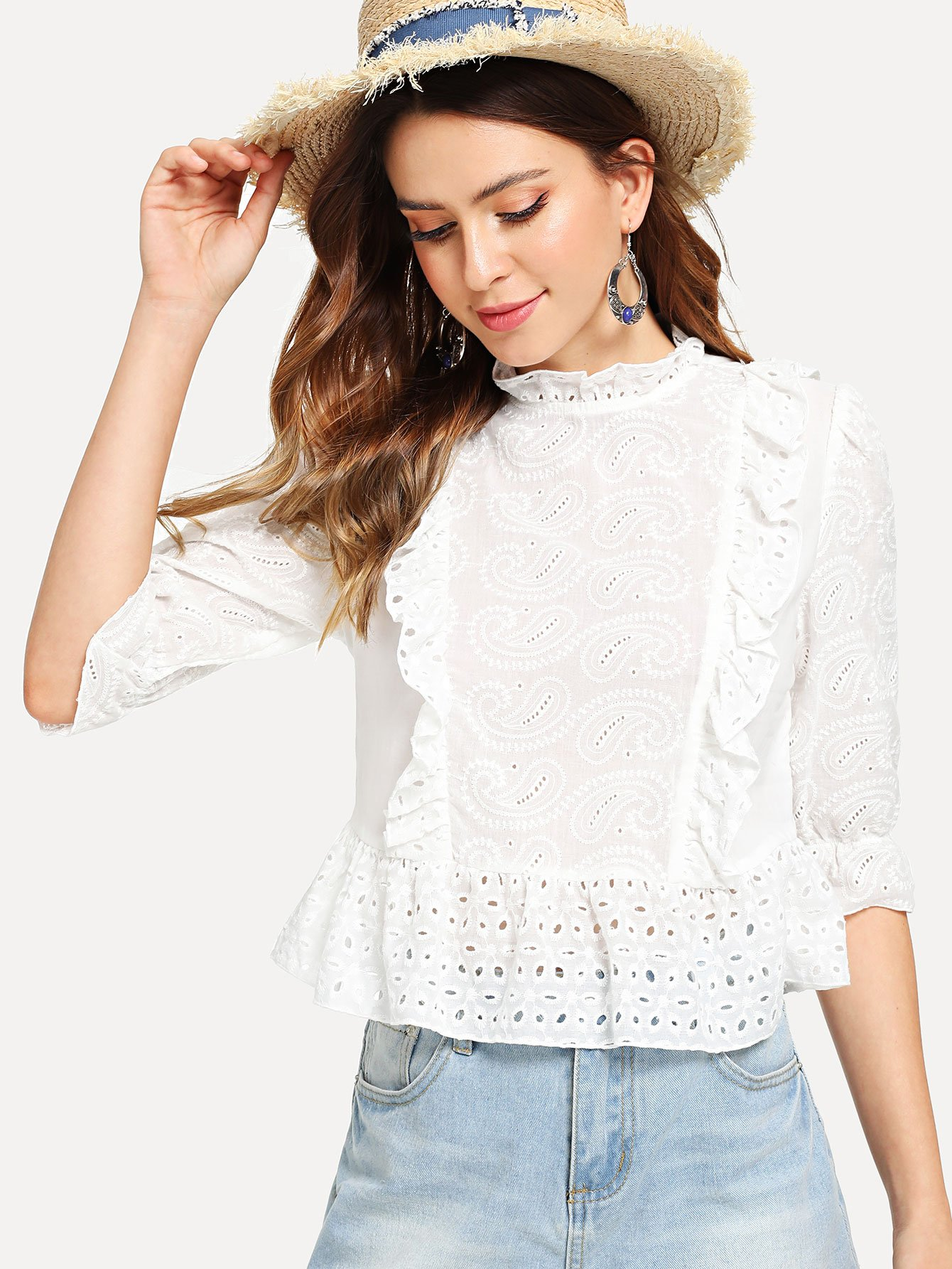 Ruffle Detail Paisley Embroidered Top patchwork ruffle detail top