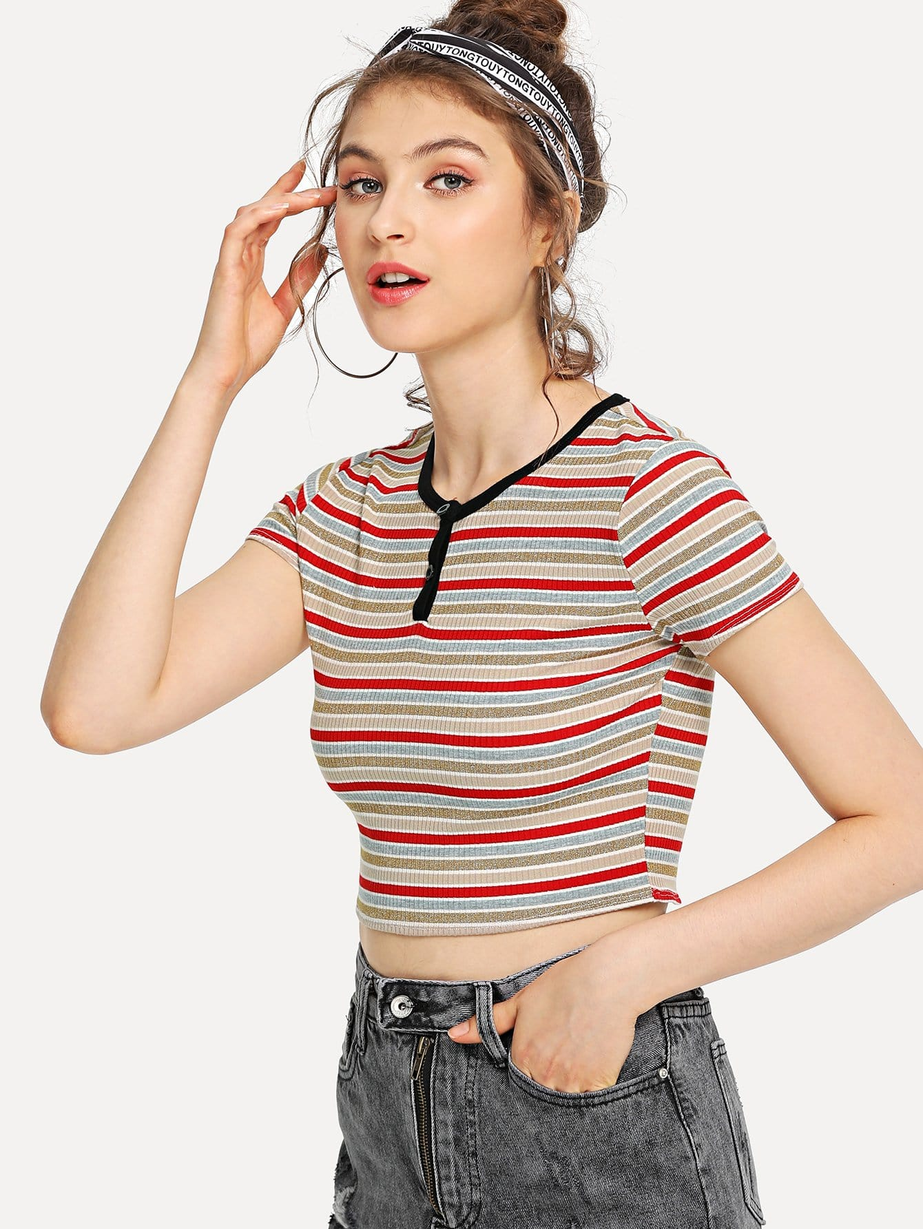 Contrast Neck Rib Knit Crop Striped Tee square neck rib knit crop tee