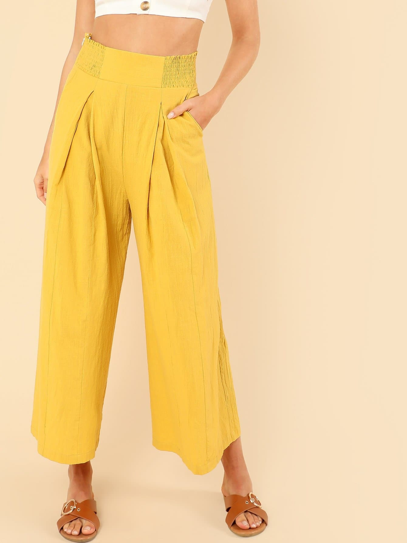 Shirred Wide Waist Loose Pants shirred waist zip back fit