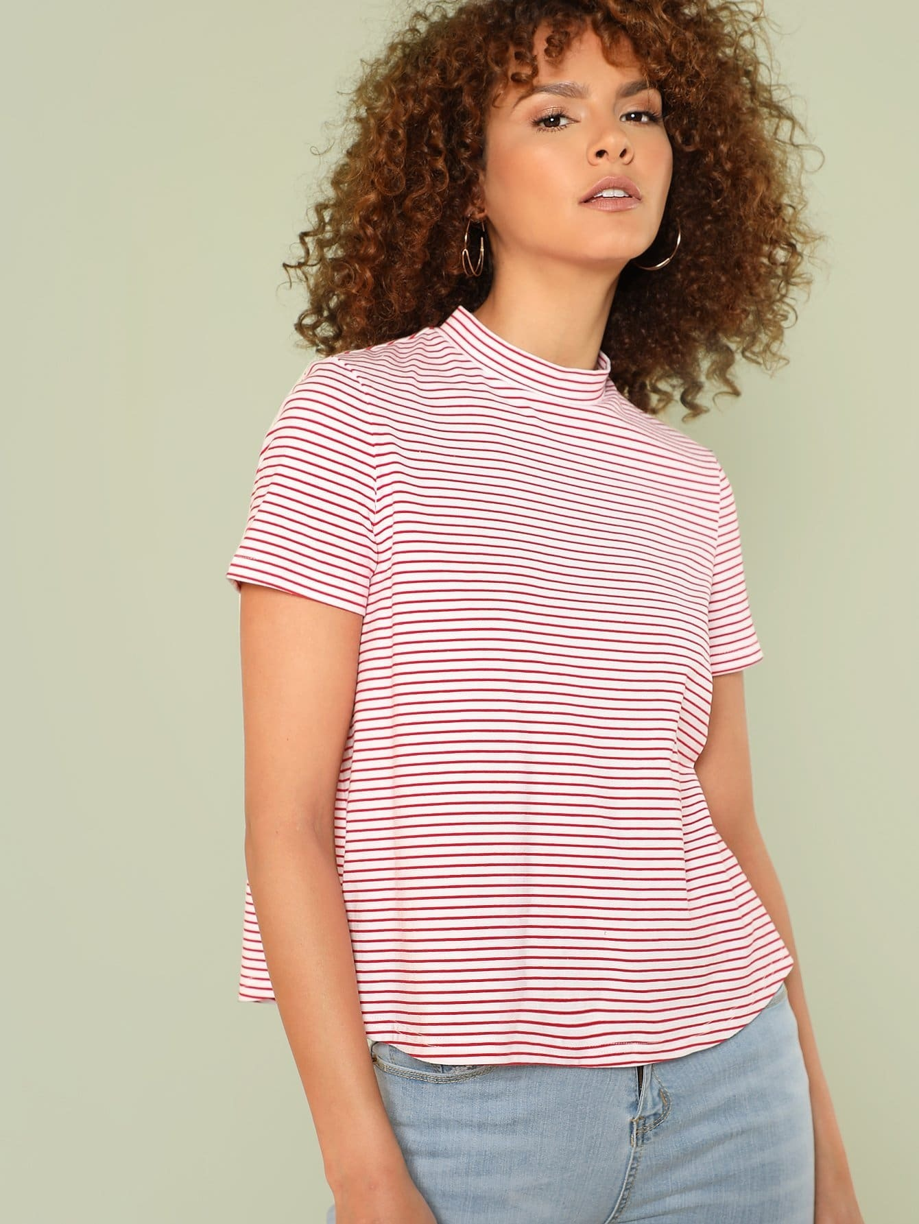 Mock Neck Curved Hem Striped Tee lace up mock neck tee