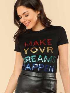 Sequin Letter Short Sleeve T-shirt
