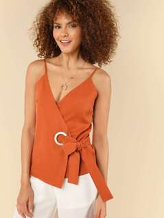 O-Ring Accent Knot Waist Wrap Cami Top