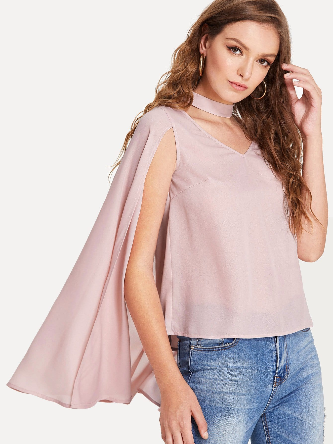 Choker Neck Cloak Sleeve Top choker neck bishop sleeve floral top