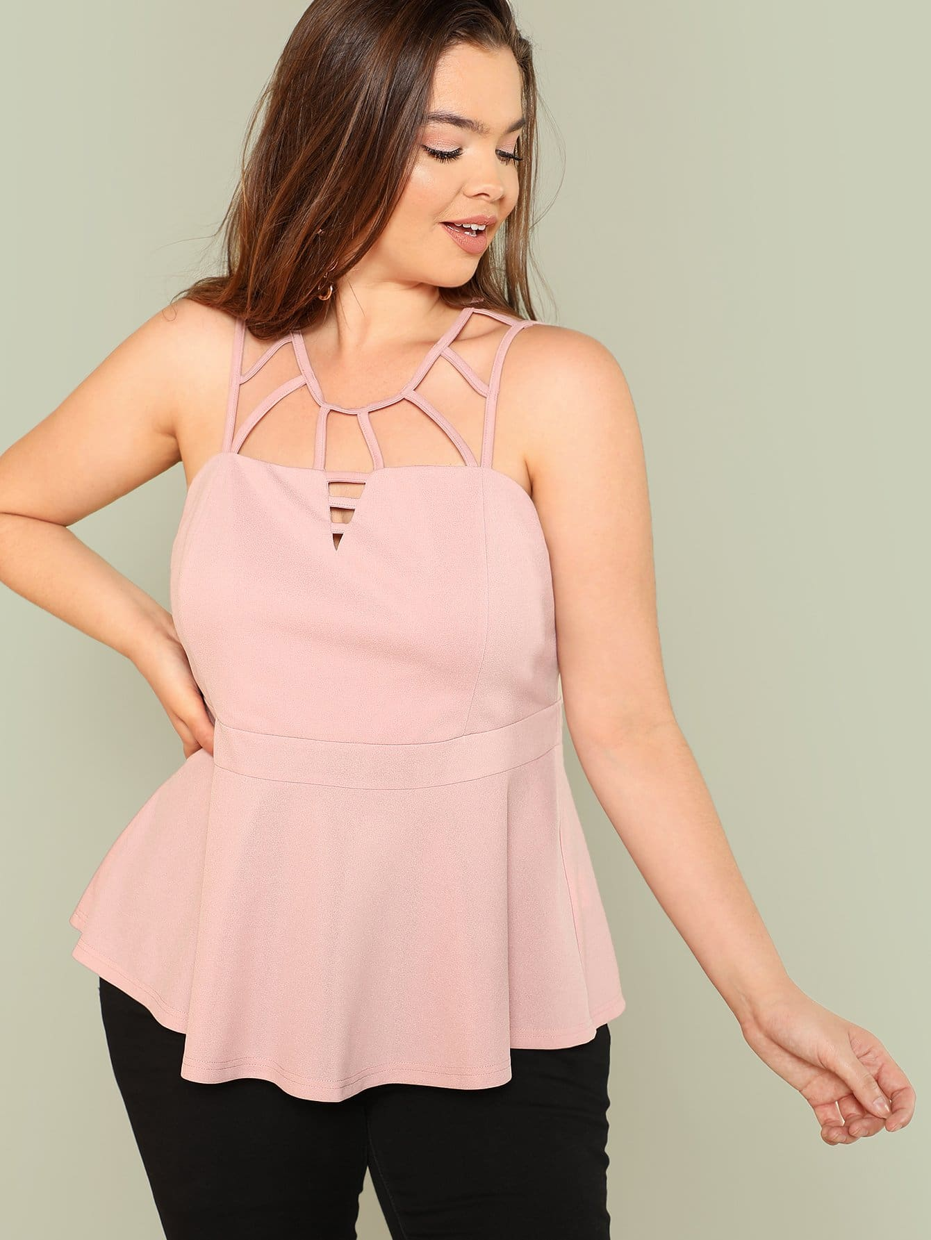 Caged Neck Solid Shell Top caged neck solid dress