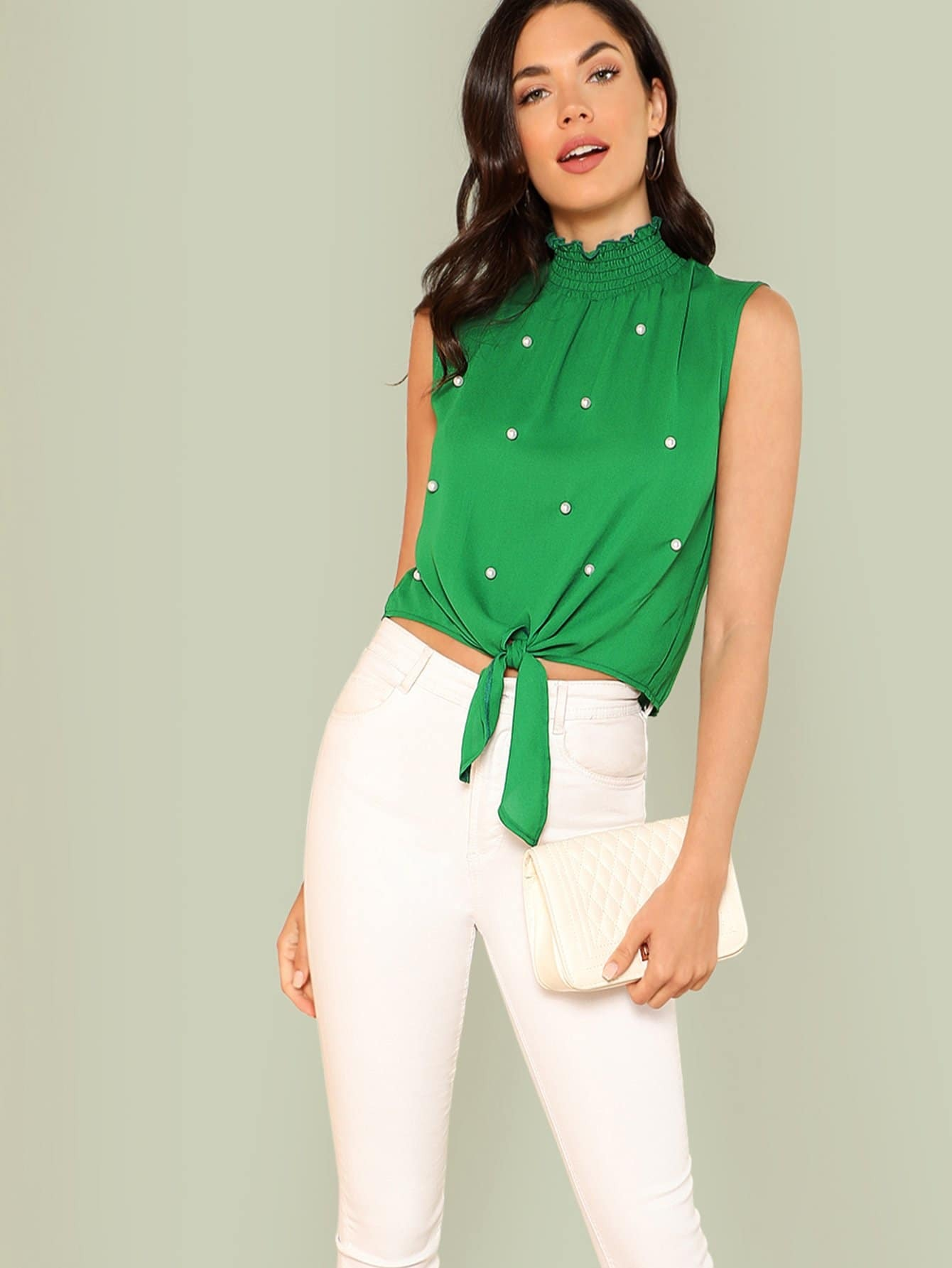 Pearl Beading Knot Hem Top pearl beading layered sleeve top