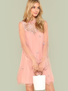Lace Shoulder Pearl & Applique Detail Mesh Dress