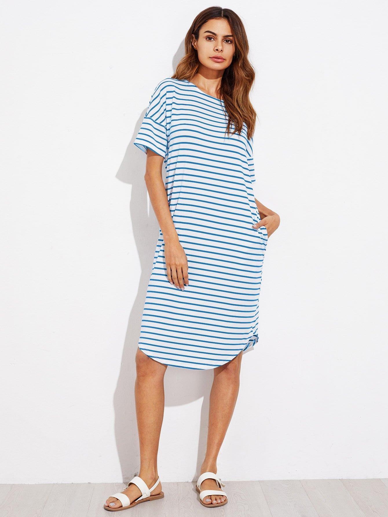 Curved Hem Striped Tee Dress contrast suede pocket curved hem striped tee dress