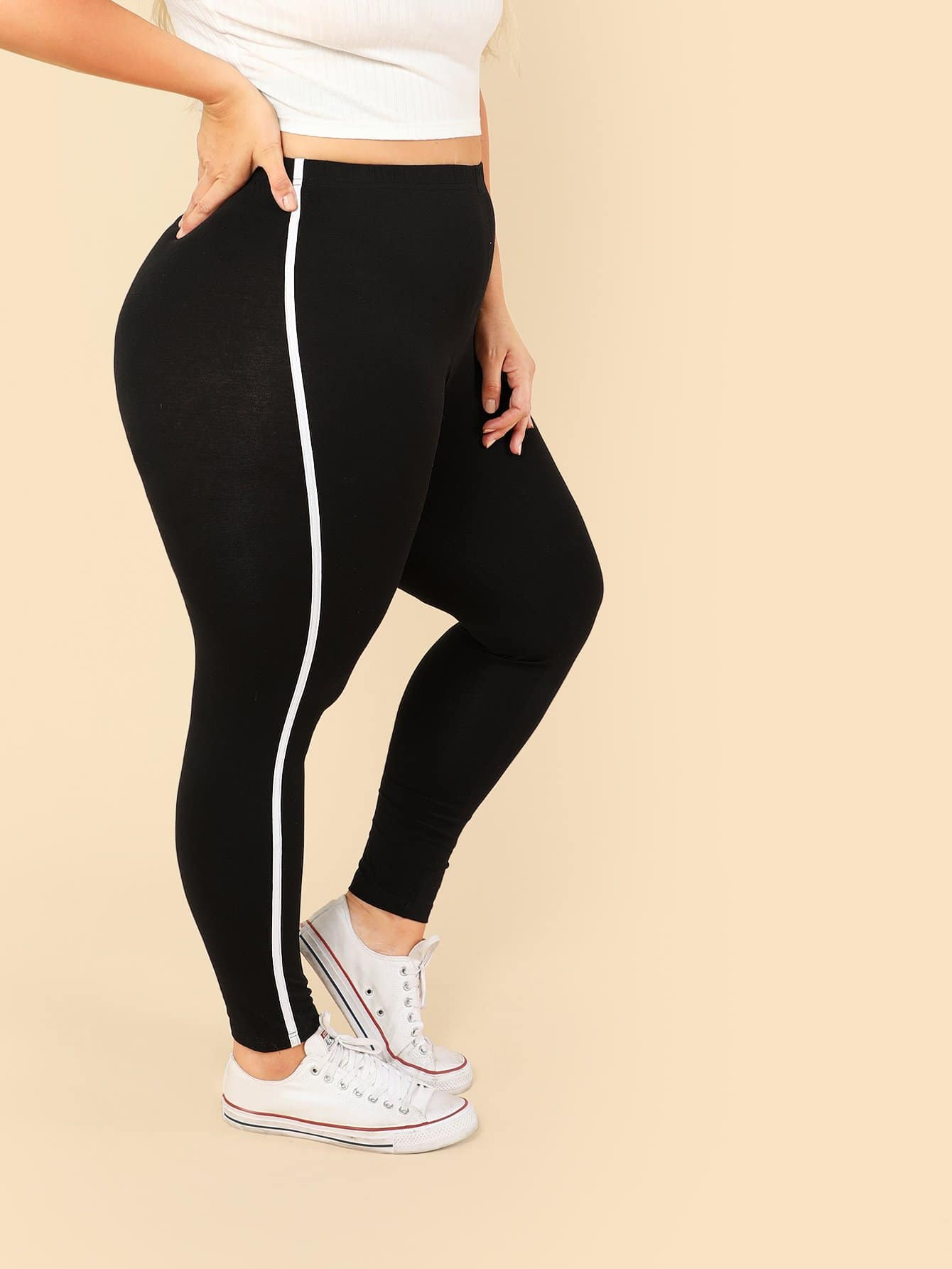 Plus Striped Side Skinny Leggings цена
