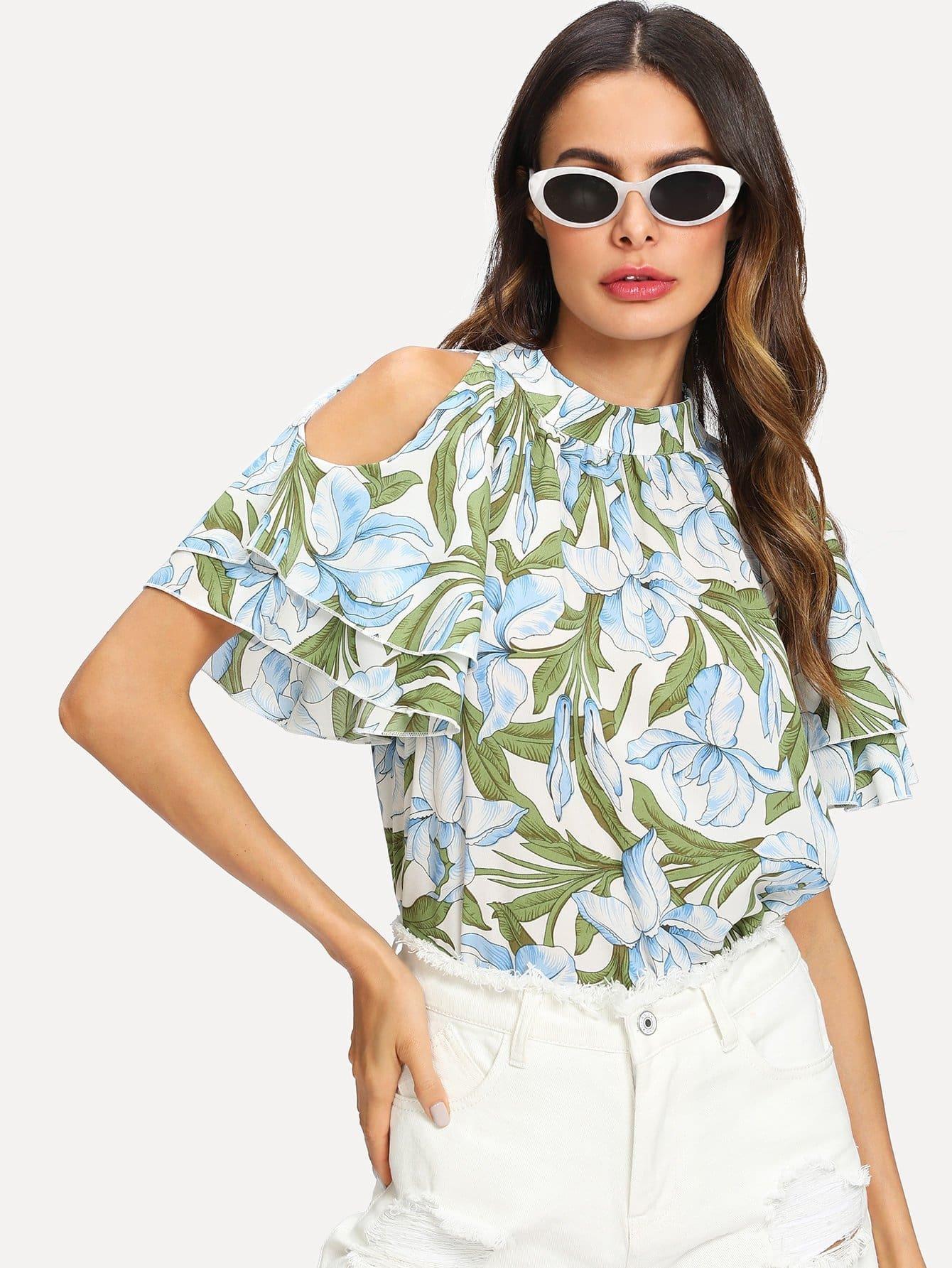 Open Shoulder Floral Print Ruffle Sleeve Blouse one shoulder floral print blouse
