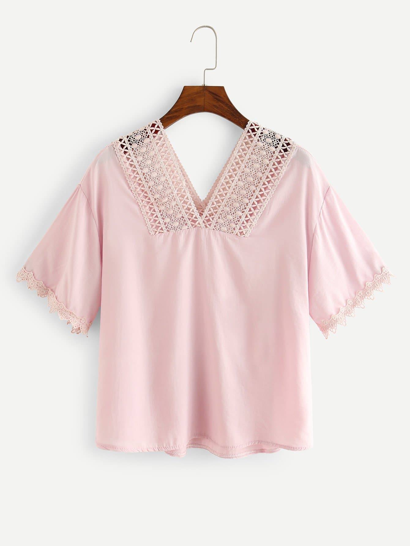 Lace Crochet Contrast Top lace crochet contrast open shoulder top