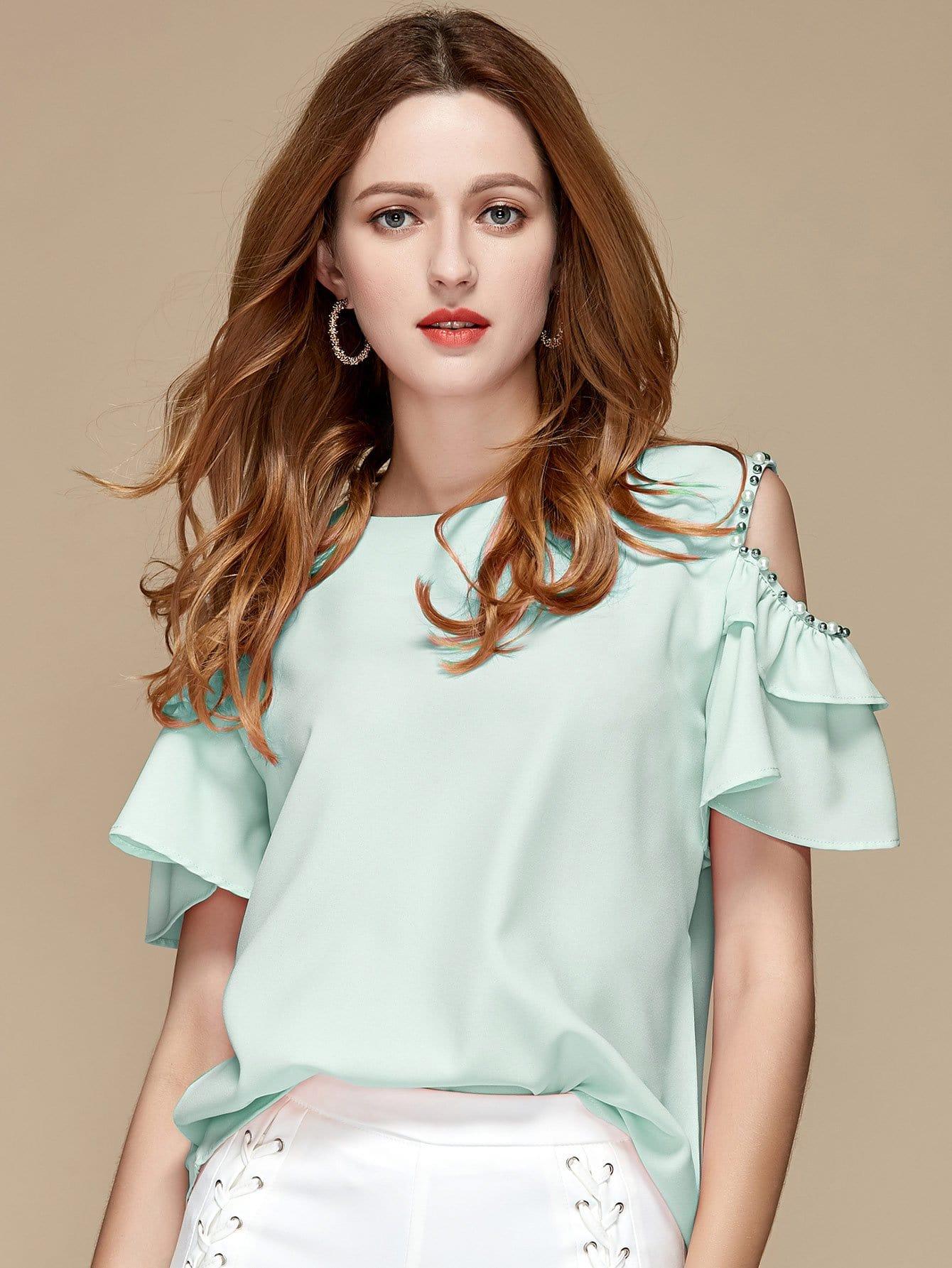 Купить Блузка с широкими рукавами и открытыми плечами, null, SheIn