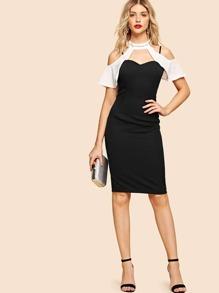 Open Shoulder Ruffle Sleeve Pencil Dress