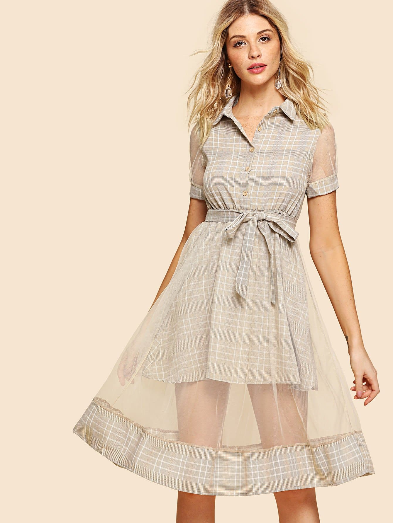 цена на Mesh Contrast Tie Waist Tartan Plaid Shirt Dress