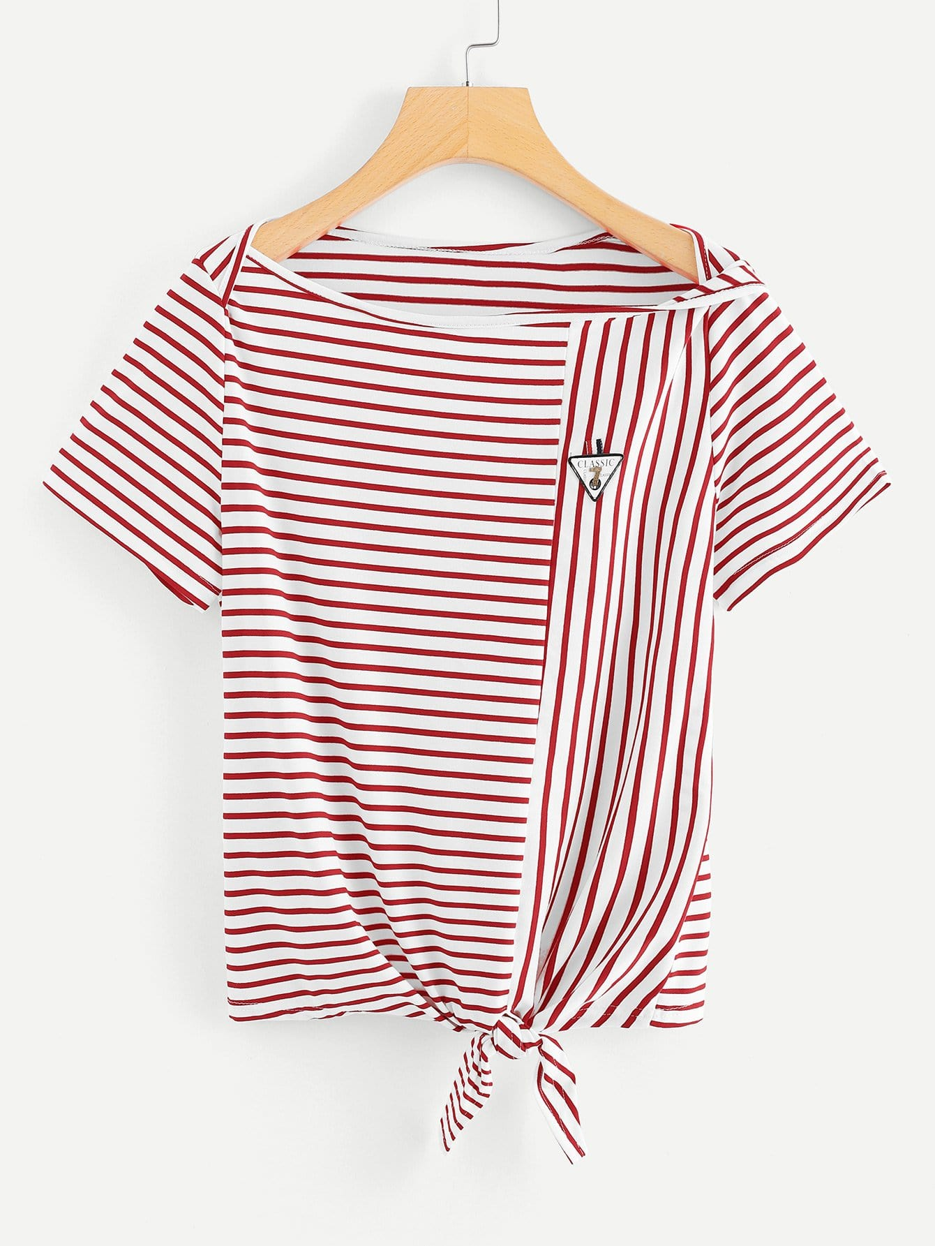 Knot Front Stripe Tee hollow lace shoulder knot front tee