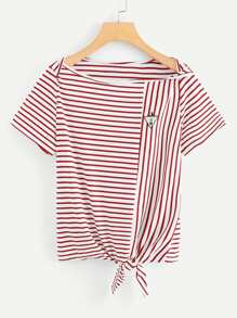 Knot Front Stripe Tee