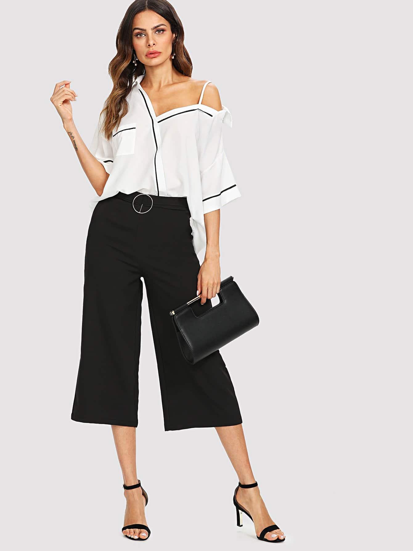 Contrast Binding Open Shoulder Shirt & Wide Leg Pants open wide 23