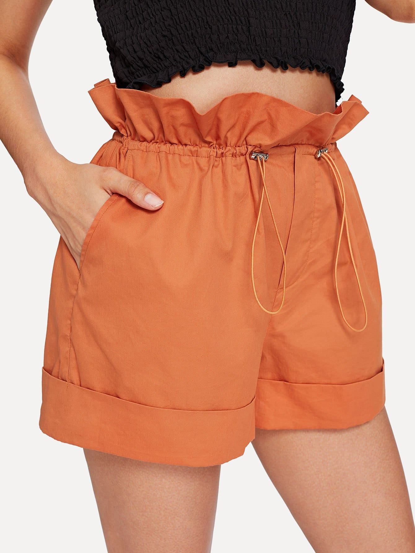 Ruffle Trim Rolled Hem Solid Shorts solid rolled hem pants
