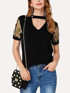 Choker Neck Embroidered Mesh Sleeve T-shirt