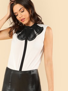 Two Tone Lace Insert Blouse
