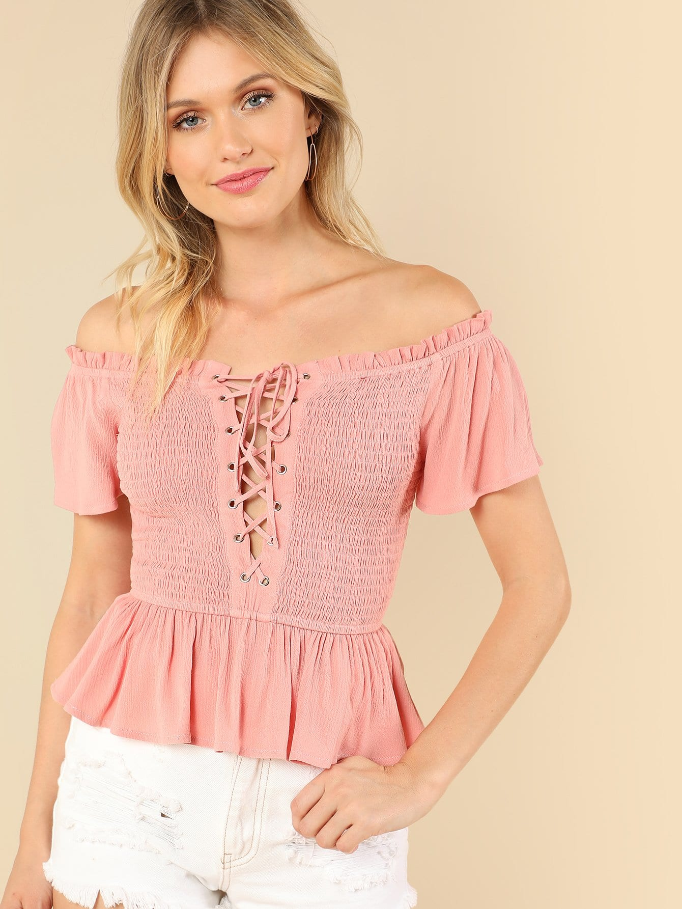Lace Up Front Layered Ruffle Shirred Bardot Top bardot ruffle layered skater dress
