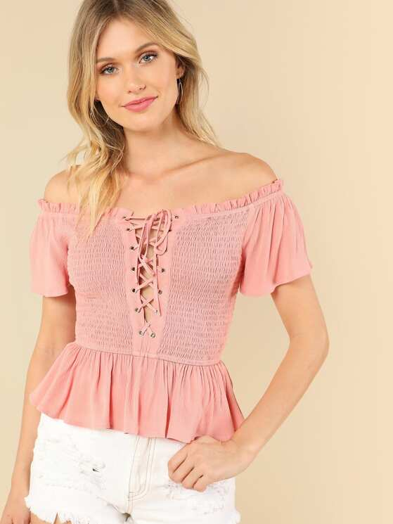 b1ce9a67 Lace Up Front Layered Ruffle Shirred Bardot Top | MakeMeChic.COM
