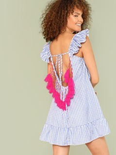 Pom Pom Trim Low Back Ruffle Gingham Dress
