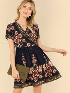 Tribal Print Knot Front Dress