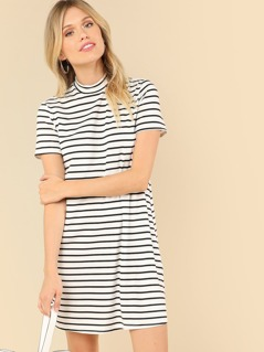 Stand Collar Striped Dress