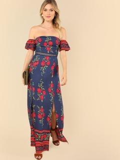 Lace Waist Split Floral Off Shoulder Dress