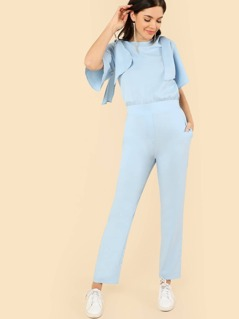 Tie Shoulder Elastic Waist Jumpsuit