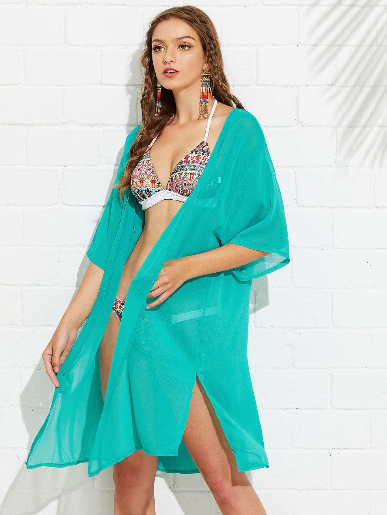 Split Cover Up split mesh skirt cover up