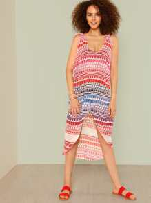 Striped Asymmetric Cover Up