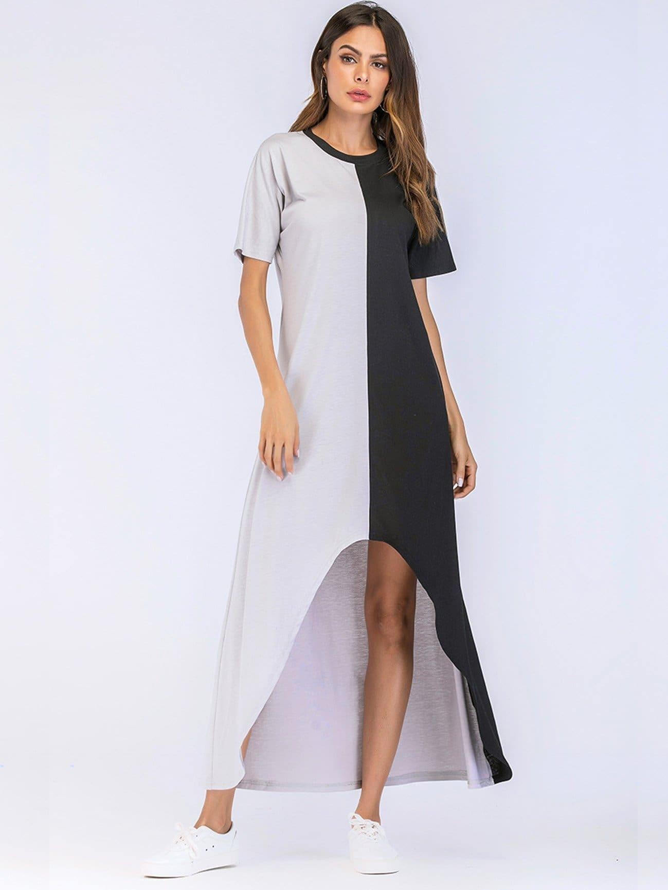 Color Block Asymmetrical Dress asymmetrical hem color block dress