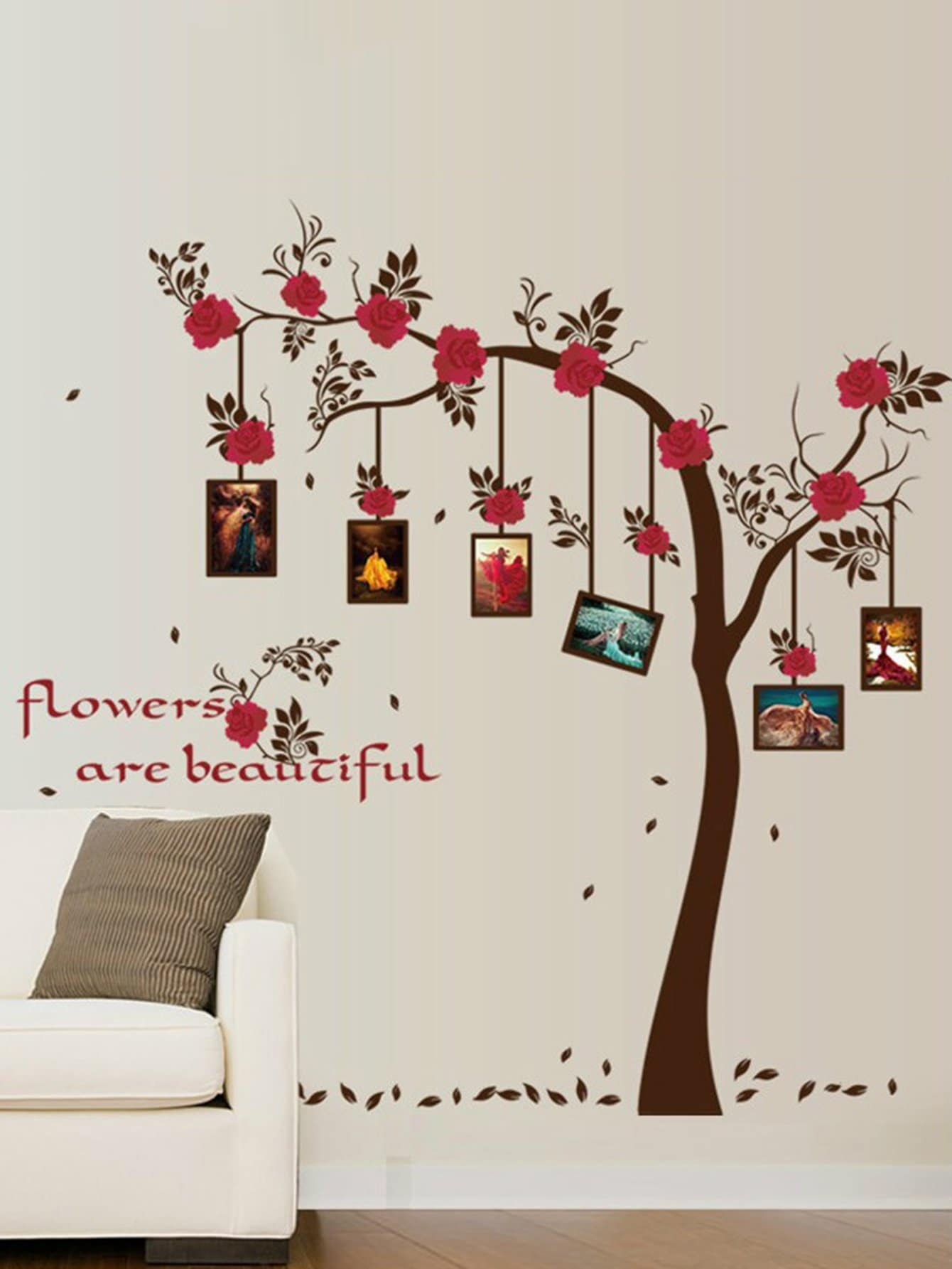 Photo Frame Floral Tree Wall Sticker 18 wedding photo frame wall paintings trace hook nail real invisible