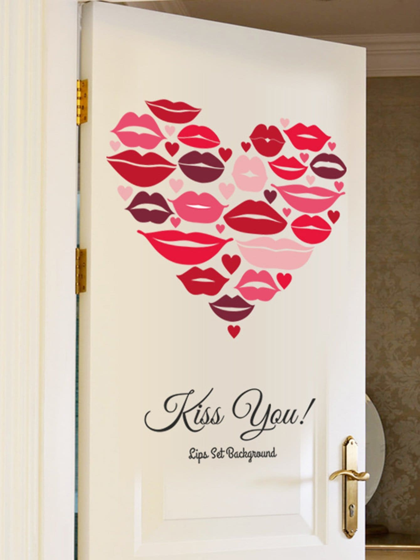 Heart Shaped Lips Wall Decal pastel heart wall decal