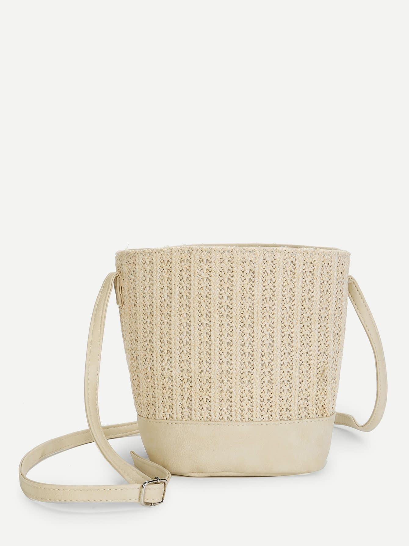 Straw Bucket Bag With Inner Pouch bucket bag with drawstring inner pouch