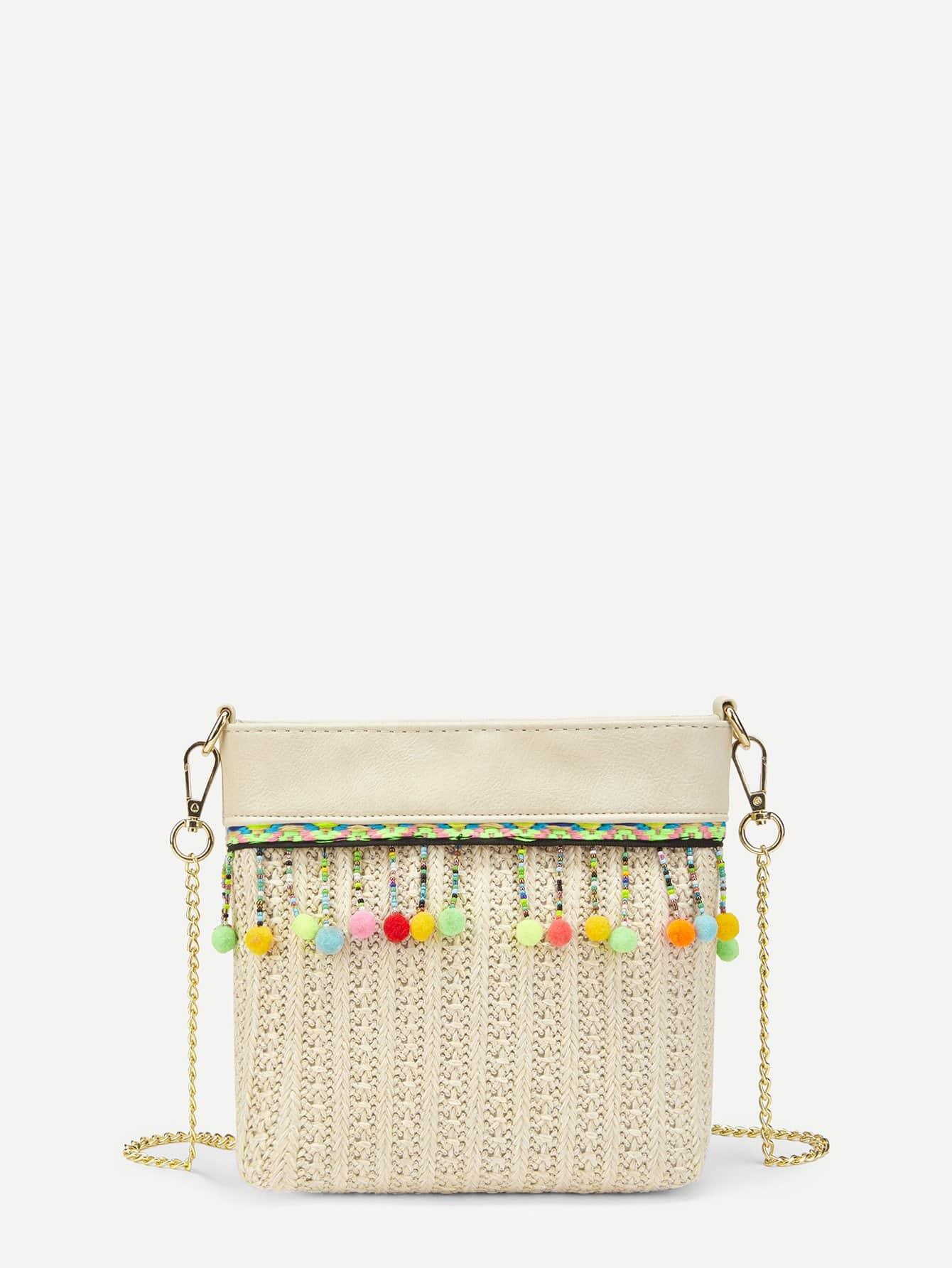 Pom Pom Decorated Straw Chain Bag pom pom decorated hair tie
