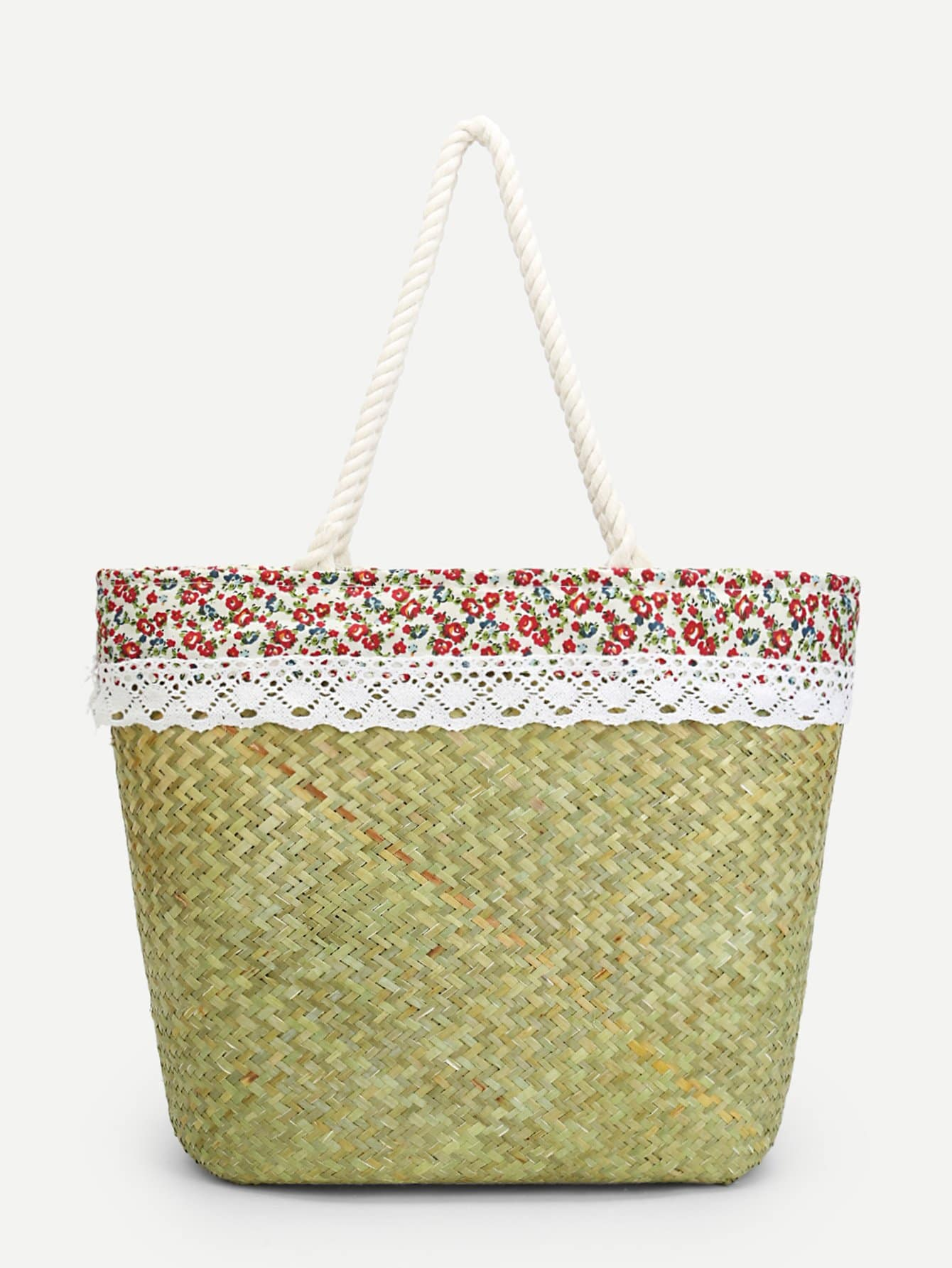 Calico Print Woven Design Straw Tote Bag woven design straw flat sandals