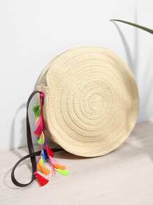 Round Shaped Crossbody Bag With Tassel