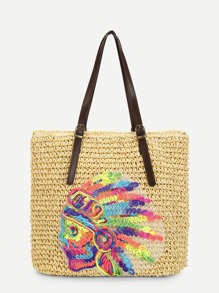 Patch Design Straw Tote Bag