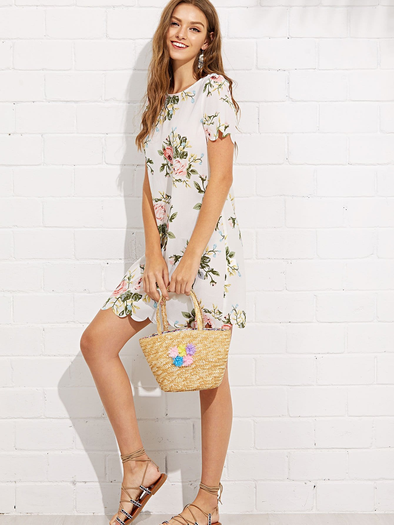 Flower Decorated Straw Bag