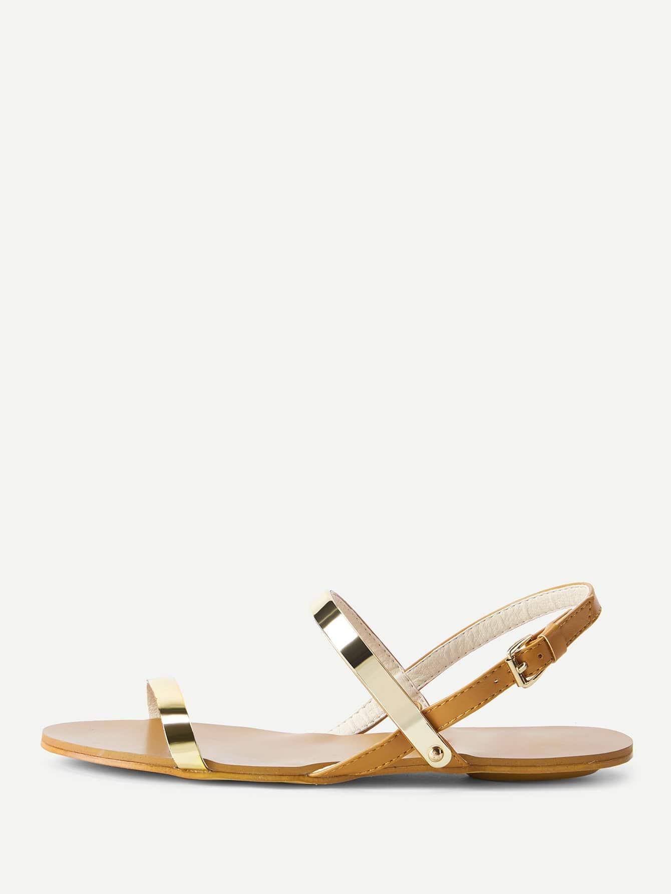 PU Strappy Flat Sandals metallic strappy flat sandals