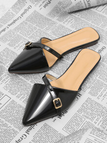 Pointed Toe PU Flat Slippers