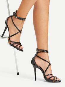 Sequin Charm Detail Back Zipper PU Heels